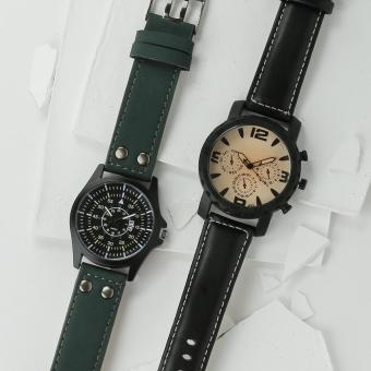 SM Accessories Mens Watch Set (Black and Green)