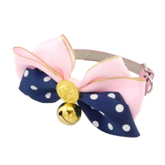 Small Dog/Cat Bling Bowknot Dot Collar Adjustable Cat Collar withBell S - intl
