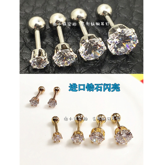 Small ears European and American Titanium Steel Screw buckle diamond set stud