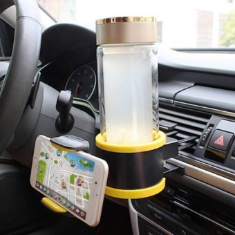 Smart Drink and Phone Clip-on Holder Car Cup Holder Air Vent Mount Phone Holder Insert Soft Drink Beverage Water Coffee Cup Bottle With Adjust Size For Vehicle Automobile(Yellow) - intl