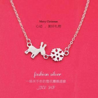Snow s925 Japan and South Korea Christmas sterling silver deer pendant