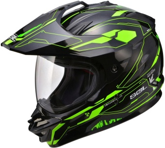 SOL Dual Sport Motard SS-1 Edge Motorcycle Helmet (Black/Green)