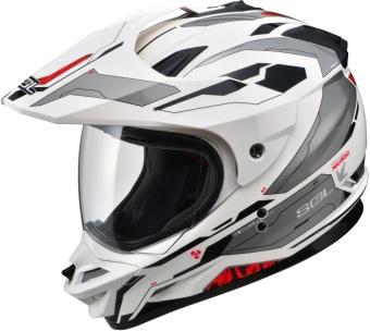 SOL Dual Sport Motard SS-1 Edge Motorcycle Helmet (White/Red)
