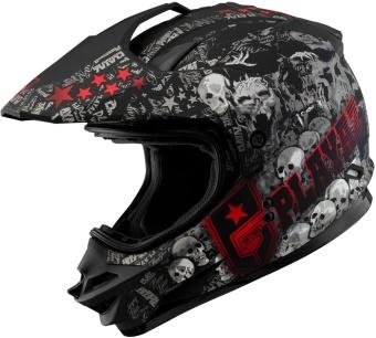 SOL Dual Sport Motard SS-1 PG Motorcycle Helmet (Glossy Black/Red) - 2