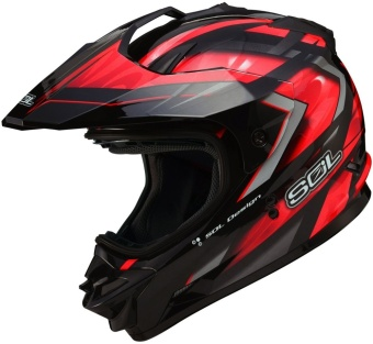 SOL Dual Sport Motard SS-1 Ultimate Motorcycle Helmet (Black/Red)