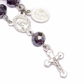 Soleful by Cez - February Birthstone Rosary Keychain with Prayer Card (amethyst) with Free Stainless Steel Earrings - 3