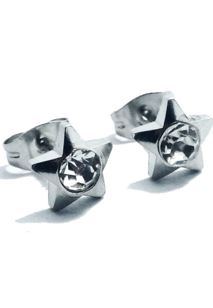 Soleful By Cez Star Stud Earrings Silver With Free Stainless Steel