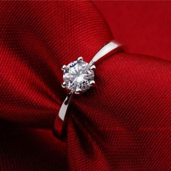 Solitaire Ring Women's Engagement Cubic Zirconia Diamond Ring Solid 925 Sterling Silver Jewelry - 2