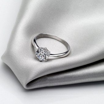 Solitaire Ring Women's Engagement Cubic Zirconia Diamond Ring Solid 925 Sterling Silver Jewelry - 4