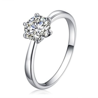 Solitaire Ring Women's Engagement Cubic Zirconia Diamond Ring Solid925 Sterling Silver Jewelry Price Philippines