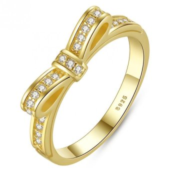 Sparking Bow Rose Gold Rings with Cubic Zirconia Elegant PromiseWedding Rings - Intl