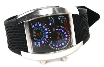 Sports RPM Turbo Blue Flash LED Men Wrist Watch Silver - picture 2