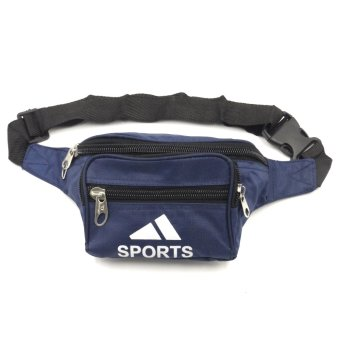 Sports Unisex Outdoor Compact Security Money Waist Belt Bag (Navy Blue)