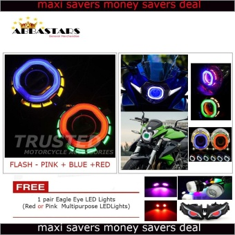 Square Angel / Devil Eyes Dual Halo Headlights Projetor Lamp LEDCompatible for Motorcycle Car Scooter Fits All Honda Model