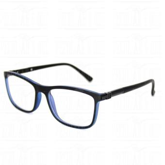 Square Clear Lens Replaceble Eyeglass with Spring Hinges Unisex_E126_BlackBlue - 3