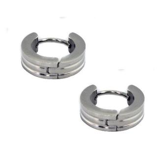 SS153 Stainless Steel 3 Stripe Silver Earrings Medium Size - 2