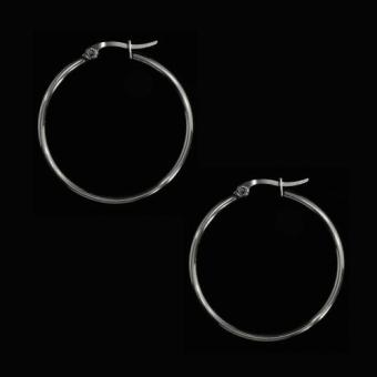 SS156 Stainless Steel Circle Silver Earrings Size 35 (Hoop)