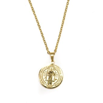 St. Benedict Pendant Stainless Steel Necklace - Gold