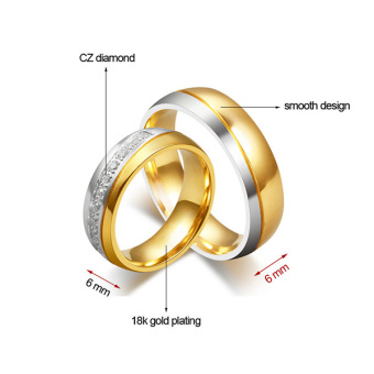 Stainless Steel 18k Gold Plated Wedding Engagement Band Couple Ring - intl:Men Size 12 - 2