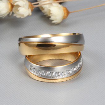 Stainless Steel 18k Gold Plated Wedding Engagement Band Couple Ring - intl:Men Size 12 - 5