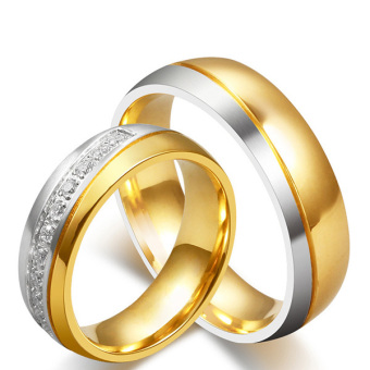 Stainless Steel 18k Gold Plated Wedding Engagement Band Couple Ring - intl:Men Size 12
