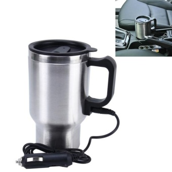 Stainless Steel Electric Smart Mug 12V Car Electric Kettle Heated Mug Car Coffee Cup With Charger Cigarette Lighter Heating Cup Kettle Vacuum Insulated Water Heater Mug - intl