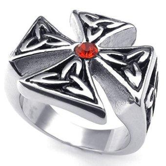 Stainless Steel Fashion Men's Rings Celtic Knot Cross CZ Ring (Intl)