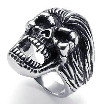 Stainless Steel Fashion Men's Rings Gothic Skull BikerBlack Silver- INTL - picture 2