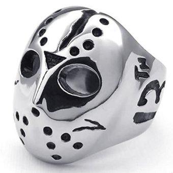 Stainless Steel Fashion Men's Rings Halloween Jason Mask Polishing- INTL