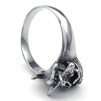 Stainless Steel Fashion Men's Rings Pirate Skull Biker Band Silver (Intl)