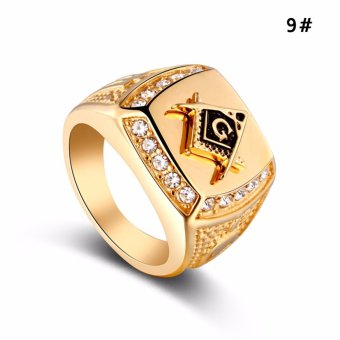 Stainless Steel Freemason Ring CZ Diamond Ring Men Gold MasonicRing - intl