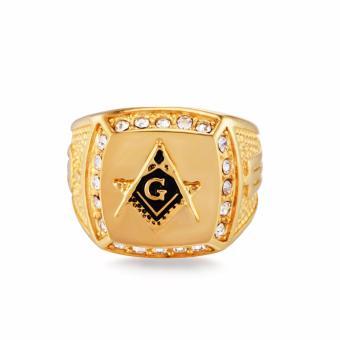 Stainless Steel Freemason Ring CZ Diamond Ring Men Gold MasonicRing - intl - 3