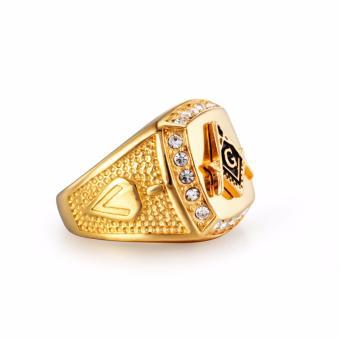 Stainless Steel Freemason Ring CZ Diamond Ring Men Gold MasonicRing - intl - 4