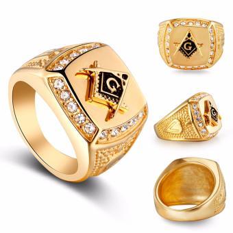 Stainless Steel Freemason Ring CZ Diamond Ring Men Gold MasonicRing - intl - 2