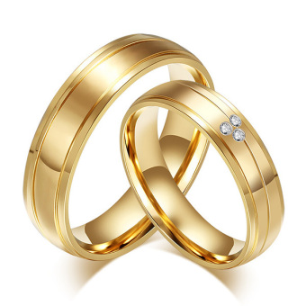 Stainless Steel Gold Plated CZ Ring for Men Women Engagement Wedding Band - intl