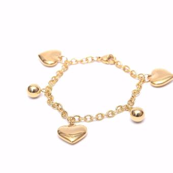 Stainless Steel Heart and Ball Charms Bracelet - Gold