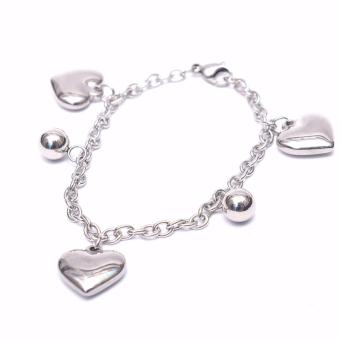 Stainless Steel Heart and Ball Charms Bracelet - Silver