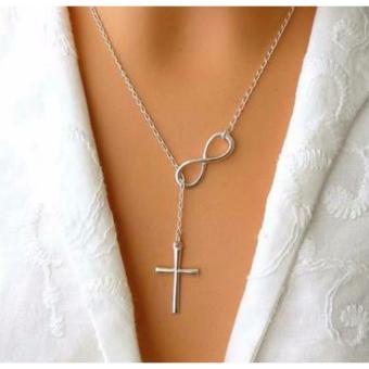 Stainless Steel Infinity Cross Necklace- Silver