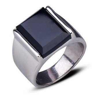 Stainless Steel Retro Black Faux Onyx Ring (Black)