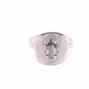 Stainless Steel St. Benedict Ring Size 8 with box- Silver