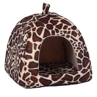 Strawberry Pet Dog Cat Bed House Kennel Doggy Puppy BasketPad(Leopard_M) - intl