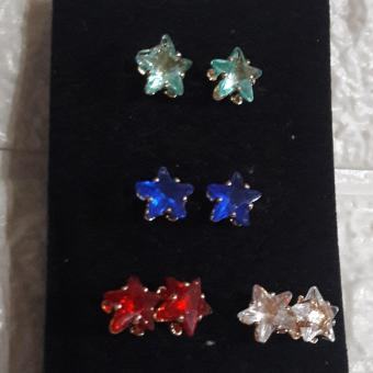 Stud Earring in Korean stone crystal 4 sets Hypoallergenic (red,green,blue,white)
