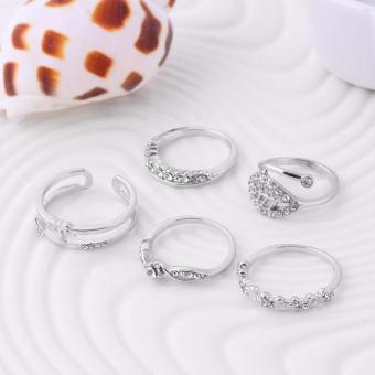 Studs Ring Set Crystal Ring Set Silver Ring Set Leaf Ring Set Heart Ring Set Crown Ring Set 5 pcs Ring Set Metal Plated Ring Set Friendship Ring Set Couple Ring Set Gift Ring Set Unisex Ring Set