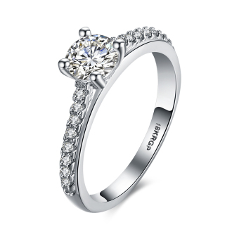 Stylish Engagement Ring White Gold Plated Wedding Rings for Women -Intl