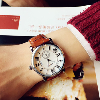 Stylish guy's Korean-style leather for men and women student fashion quartz watch waterproof watch