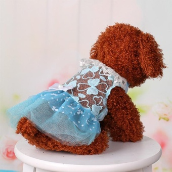 Summer Pet Dog Dress Wedding Party Dog Cat Princess Tutu Skirt SoftPuppy Clothes for Small Dog Teddy Color:Blue Size:10 yards S - intl - 5