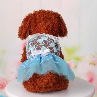 Summer Pet Dog Dress Wedding Party Dog Cat Princess Tutu Skirt SoftPuppy Clothes for Small Dog Teddy Color:Blue Size:10 yards S - intl - 4