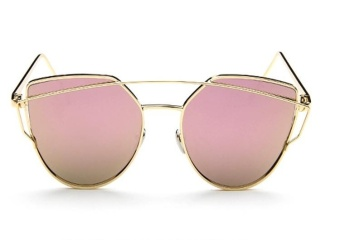Sunglasses Women Fashion Summer Style Sun glasses for Women Designer Twin-Beams Shades(Gold frame Pink mirror) - intl