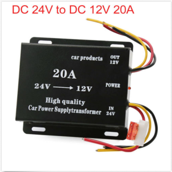Suoer 20A DC24V to DC12V 20A CAR Power Converter Transformer(BLACK)