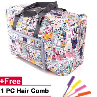 Super Large Capacity Floral Duffle Bag Carry On Fashion WomenTravel Luggage Bags(Floral Castle) - intl